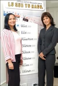 Iruma Castro, Gerente de Mercadeo de Herramientas de Productividad y Anayda Frisneda, Gerente General de Microsoft Venezuela.