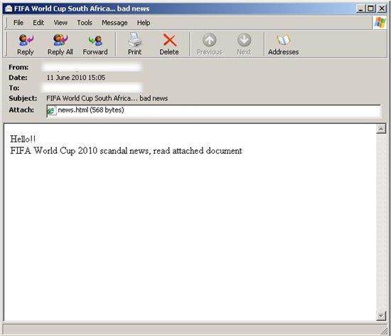 Pantalla del correo electrónico como lo vería un usuario