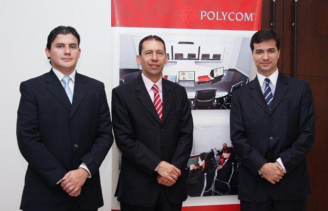En la foto de izquierda a derecha los ejecutivos de Polycom: Diego Castro, Ingeniero Colombia; Darío Pava, Country Manager Colombia, y Pierre Rodríguez, Vicepresidente de Caribe y América Latina de Polycom