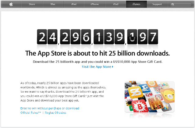 Apple iTunes 25 Billion App Countdown