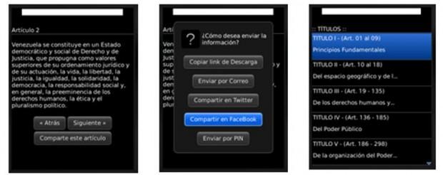 Constitución Venezolana en BlackBerry