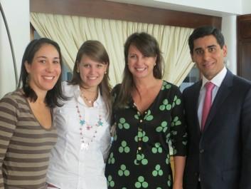 de izquierda a derecha: Rosa Cristina Aguilar – Coordinadora General Venezuela sin Límites  Marianna Schiavino - Gerente de Mercadeo ICO Group  Mireya Cisneros – Presidenta de Venezuela sin Límites  Jorge Prado - CEO ICO Group