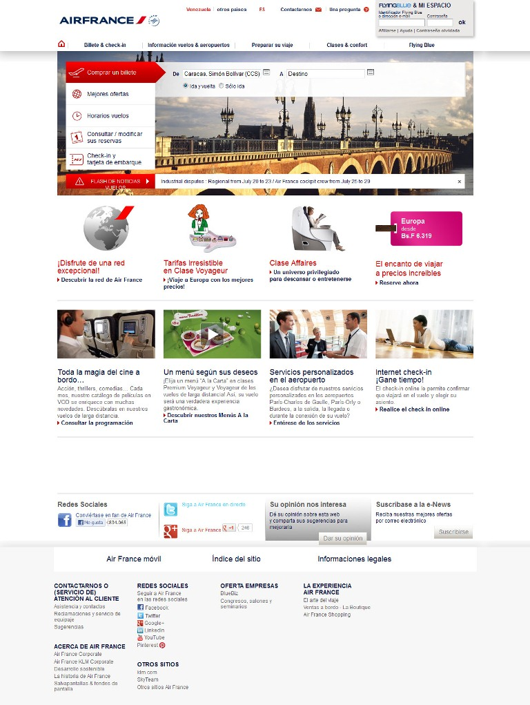 Sitio web de Air France renovado