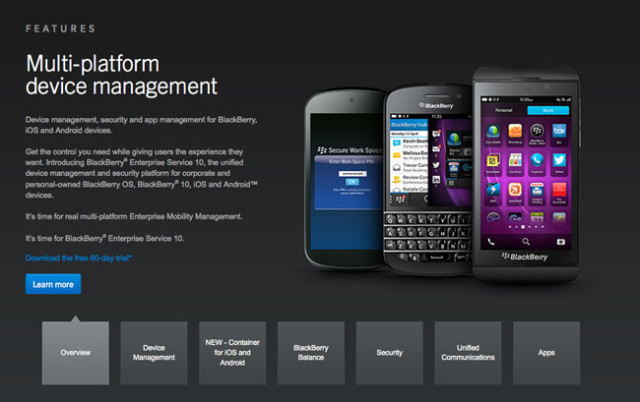 BlackBerry iOS Android