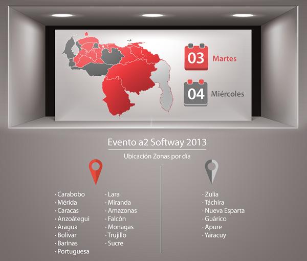 Evento de A2 Softway Ubicación Zonas por día