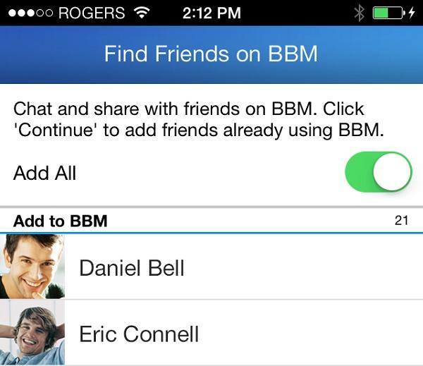 Encontrar Amigos con BBM