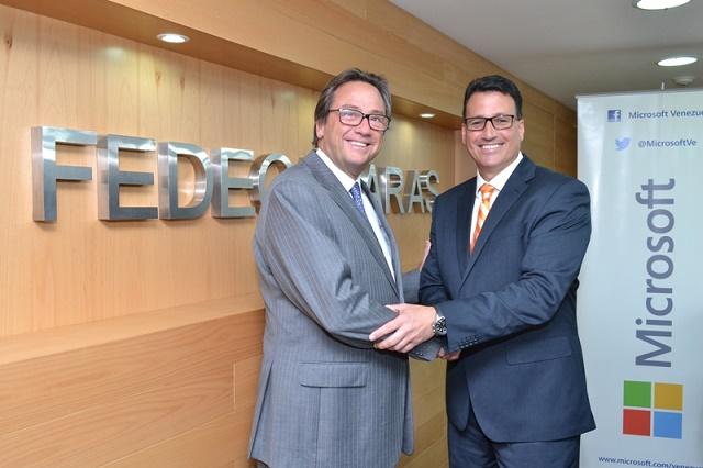 Jorge Roig, presidente de Fedecámaras, y Leopoldo Rubín, gerente general de Microsoft Venezuela