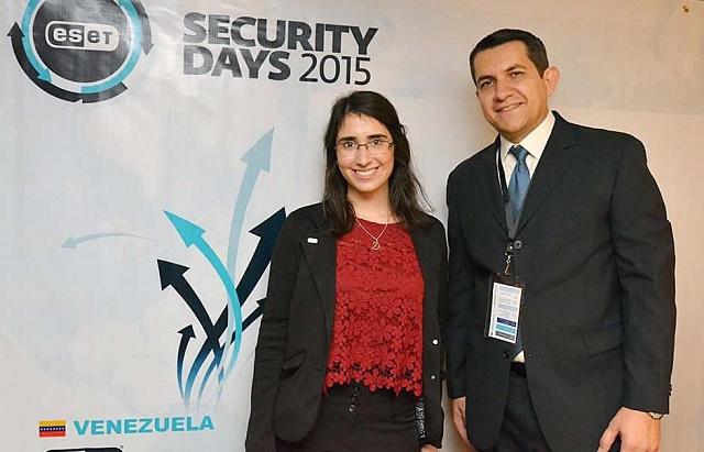 Denise Giusto, Security Researcher de ESET LAT y Renato de Gouveia, Gerente de Mercadeo y Ventas de ESET Venezuela